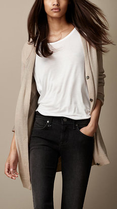 Burberry Check-Lined Wool Cashmere Cardigan