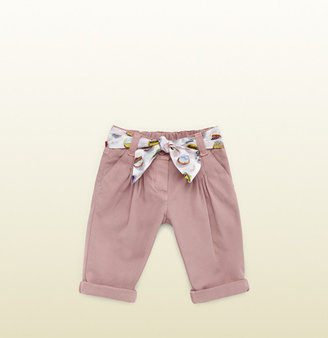 Gucci Vintage Rose Cotton Pant With Cupcake Print Belt