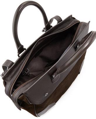 HUGO BOSS Sahel Leather Work Bag, Dark Brown