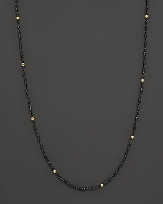 """Mizuki 14K Yellow Gold Faceted Bead and Shadow Silver Wrapped Chain Necklace, 18"""""""