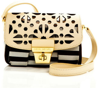 Henri Bendel Brown & White Stripe Laser Cut Mini Bag