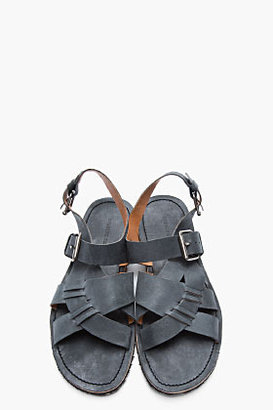 Opening Ceremony Faded Black Leather Criss-Cross Sandals