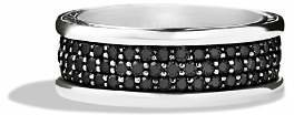 David Yurman Streamline Three-Row Band Ring with Black Diamonds