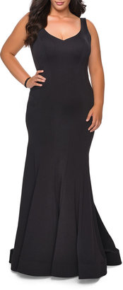 La Femme Plus Size V-Neck Sleeveless Jersey Gown