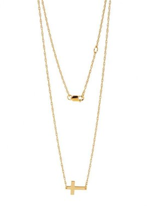 Jennifer Zeuner Jewelry Mini Horizontal Cross Necklace in Gold Vermeil