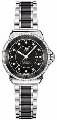 Tag Heuer Ladies Formula 1 Small Dial Black Ceramic Diamond Watch WAH1312BA086