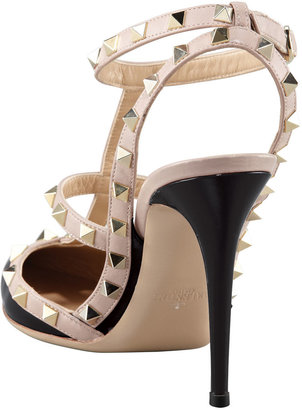 Valentino Rockstud Noir Patent Sandal, Black