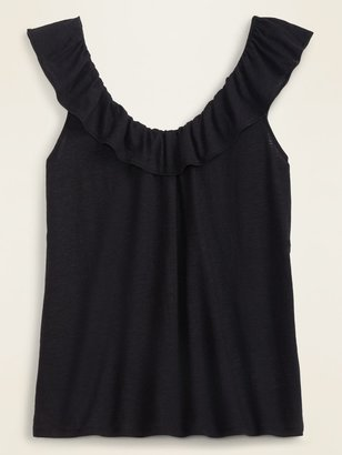 Old Navy Ruffled Linen-Blend Jersey Tie-Back Top for Women