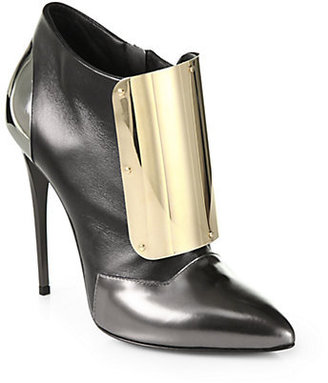 Giuseppe Zanotti Tricolor Leather Metal Ankle Boots