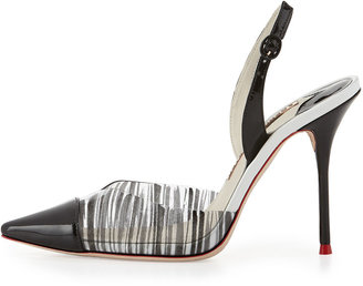 Webster Sophia Daria Striped Slingback Pump, White/Black