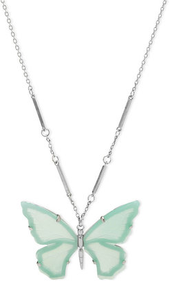 Fossil Necklace, Silver-Tone Turquoise Butterfly Pendant Necklace