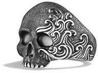 David Yurman Waves Large Skull Ring