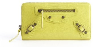 Balenciaga lime green pebbled leather zip continental wallet