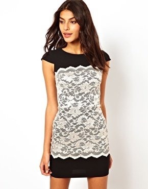 Hybrid Dress With Lace Overlay - Black/nude lace