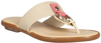 Hogan Tan Canvas And Leather Thong Sandals