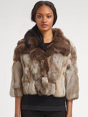 Saks Fifth Avenue Collection Cropped Rabbit-Fur Jacket