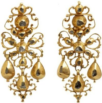Olivia Collings Antique Jewelry Diamond Filigree & Bow Drop Earrings