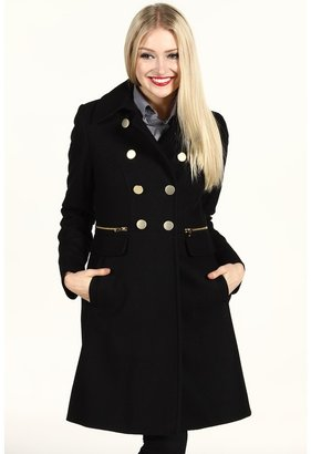 DKNY Double-Breasted Coat w/ Gold Buttons (Black) - Apparel
