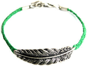 Chicwish Feather Knit Bracelet Green