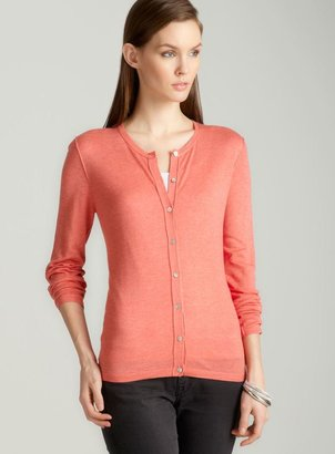 August Silk Crew neck cardigan in coral