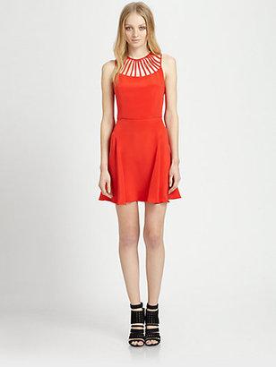 Parker Sarah Lattice-Trim Silk Dress