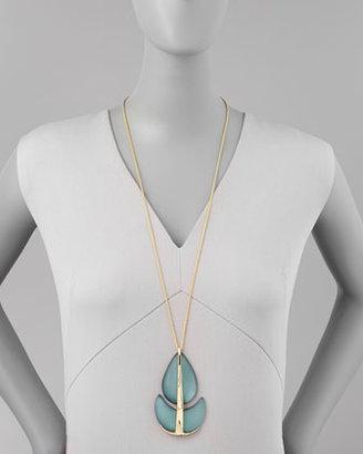 "Alexis Bittar Neo Boho Paisley Lucite Pendant Necklace, 32"""