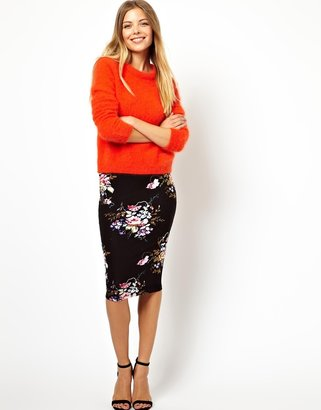 Asos Pencil Skirt In Oriental Floral Print