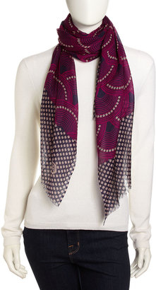 Jonathan Adler Fish-Scale and Dot-Print Lightweight Scarf, Purple/Multi