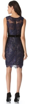 Notte by Marchesa Lace Dress with Sequin Layer