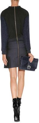 Victoria Beckham Victoria, Wool Mixed-Media Dress in Navy/Black