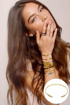 Chibi Jewels Feather Cuff Bracelet in Brass
