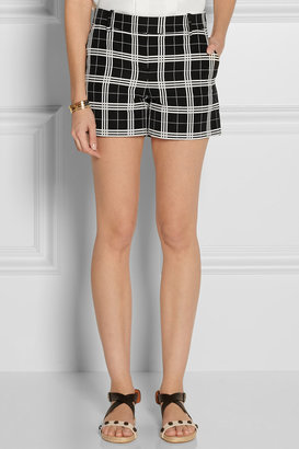 Oscar de la Renta Checked cotton-blend shorts