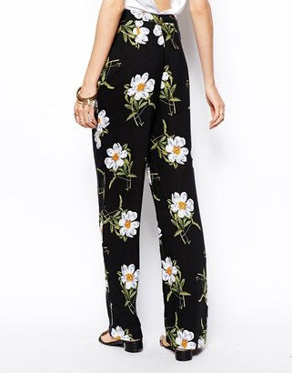 Asos Trousers In Wide Leg In Floral Print