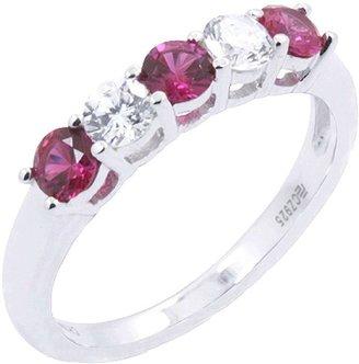 Diamonique & Lab-Created Ruby 5 Stone Ring, Platinum Clad