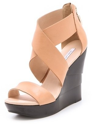 Diane von Furstenberg Opal Black Lacquered Wedge Sandals