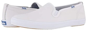 Keds Champion-Leather Slip-On (White Leather) Women's Flat Shoes