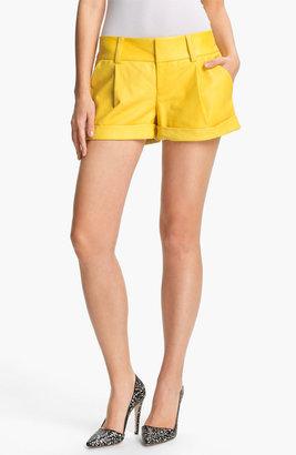 Alice + Olivia 'Eric' Cuffed Leather Shorts