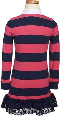 Ralph Lauren Rugby Stripe Long Sleeve Dress (Toddler Girls & Little Girls)