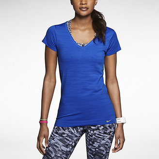 Nike Dri-FIT Knit Texture Short-Sleeve V-Neck Women's Running Shirt