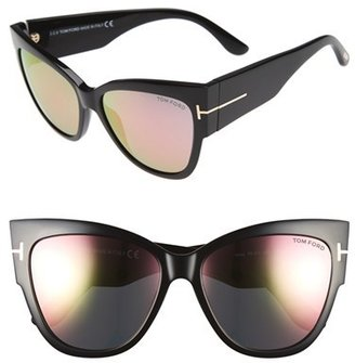 Women's Tom Ford Anoushka 57Mm Gradient Cat Eye Sunglasses - Black/ Pink Lapo $445 thestylecure.com