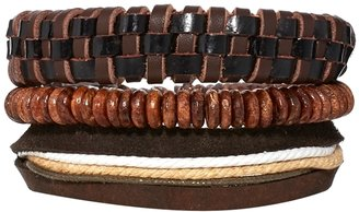Asos Leather And Wooden Bracelet Pack