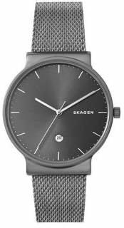 Skagen Mens Three-Hand Ancher Titanium and Steel-Mesh Watch