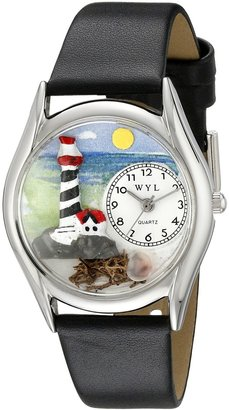 Whimsical Watches Women's S1210012 Lighthouse Black Leather Watch