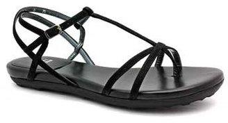 "Stuart Weitzman Kittyliso"" Black Suede T-Strap Flat Thong Sandal"