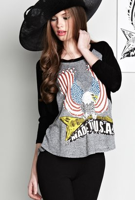 Lauren Moshi Drew Large Color USA Eagle Draped Sleeve Raglan in Black
