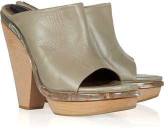 Marni Leather and wood mules