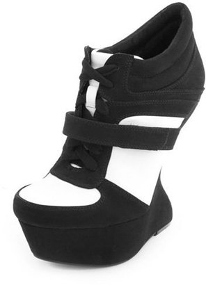 Charlotte Russe Sueded Lace-Up Heel-Less Wedge Sneaker