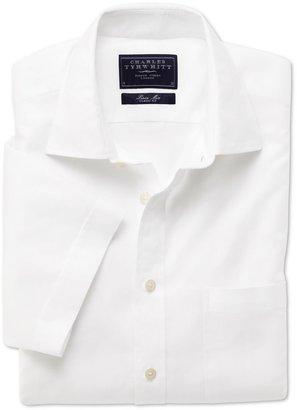 Charles Tyrwhitt White linen mix short sleeve shirt