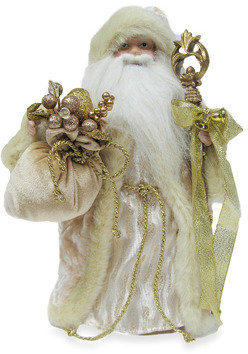 Bed Bath & Beyond 18-Inch Santa Tree Topper with Vintage White and Gold Fabric Robe
