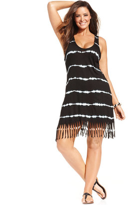 Raviya Plus Size Tie-Dyed Striped Dress Cover-Up $48 thestylecure.com